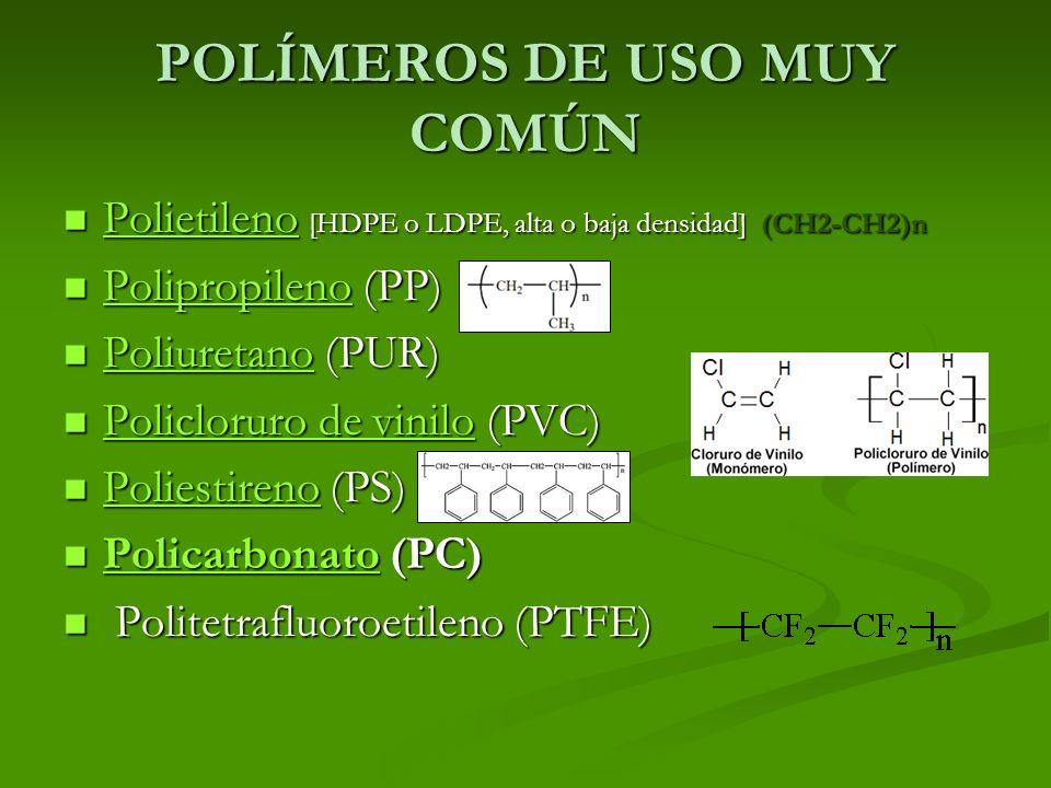 POLÍMEROS DE USO MUY COMÚN Polietileno [HDPE o LDPE, alta o baja densidad] (CH2-CH2)n Polietileno [HDPE o LDPE, alta o baja densidad] (CH2-CH2)n Polie