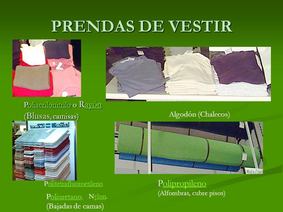 PRENDAS DE VESTIR. Poliacrilonitrilo o Rayón oliacrilonitriloayónoliacrilonitriloayón ( Blusas, camisas) Algodón (Chalecos) Nylon.ylon Politetrafluoro