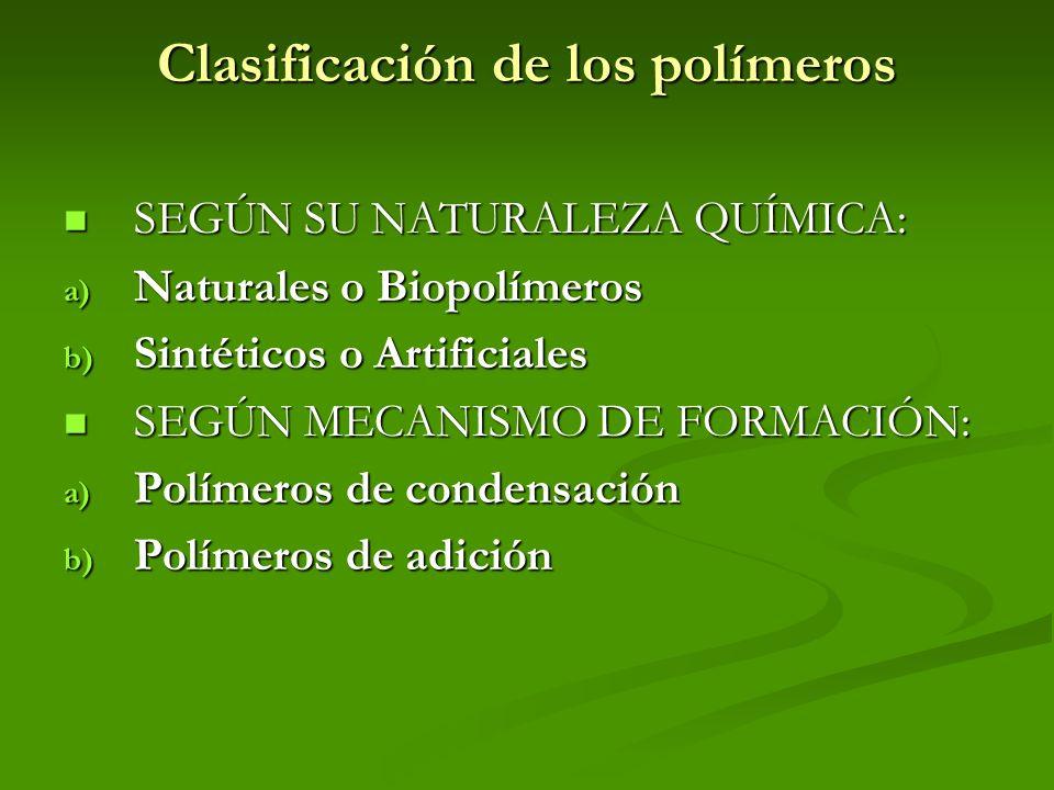 Clasificación de los polímeros SEGÚN SU NATURALEZA QUÍMICA: a) N aturales o Biopolímeros b) S intéticos o Artificiales SEGÚN MECANISMO DE FORMACIÓN: a