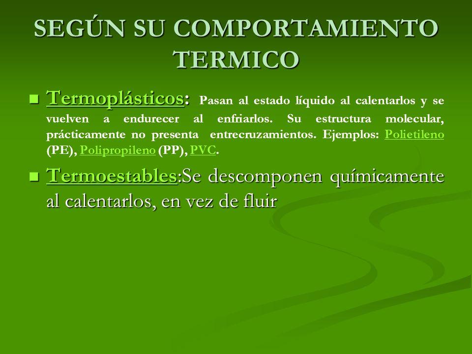 SEGÚN SU COMPORTAMIENTO TERMICO Termoplásticos: Termoplásticos: Pasan al estado líquido al calentarlos y se vuelven a endurecer al enfriarlos. Su estr