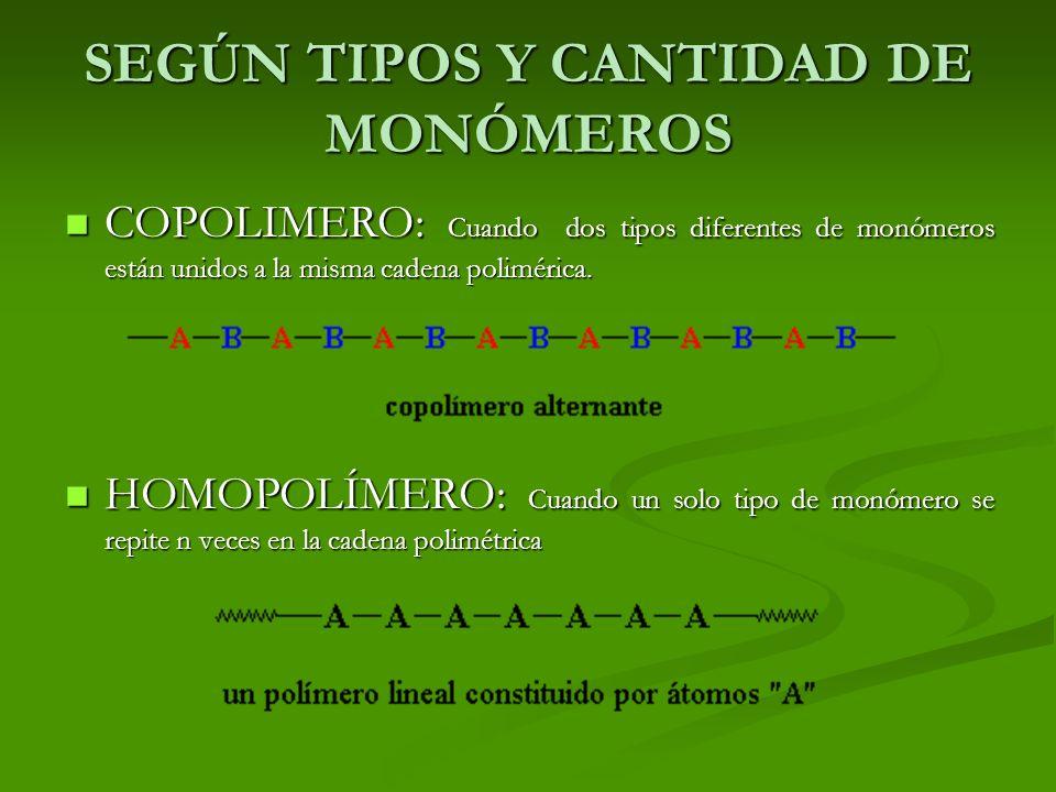 SEGÚN TIPOS Y CANTIDAD DE MONÓMEROS COPOLIMERO: Cuando dos tipos diferentes de monómeros están unidos a la misma cadena polimérica. COPOLIMERO: Cuando