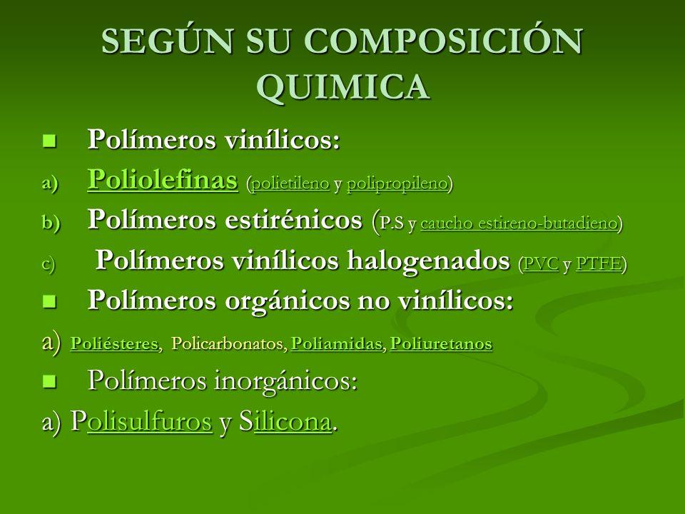 SEGÚN SU COMPOSICIÓN QUIMICA Polímeros vinílicos: Polímeros vinílicos: a) Poliolefinas (polietileno y polipropileno) Poliolefinaspolietilenopolipropil