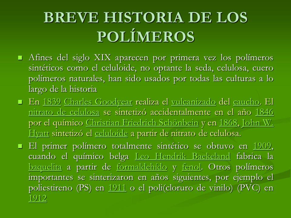 BREVE HISTORIA DE LOS POLÍMEROS Afines del siglo XIX aparecen por primera vez los polímeros sintéticos como el celuloide, no optante la seda, celulosa