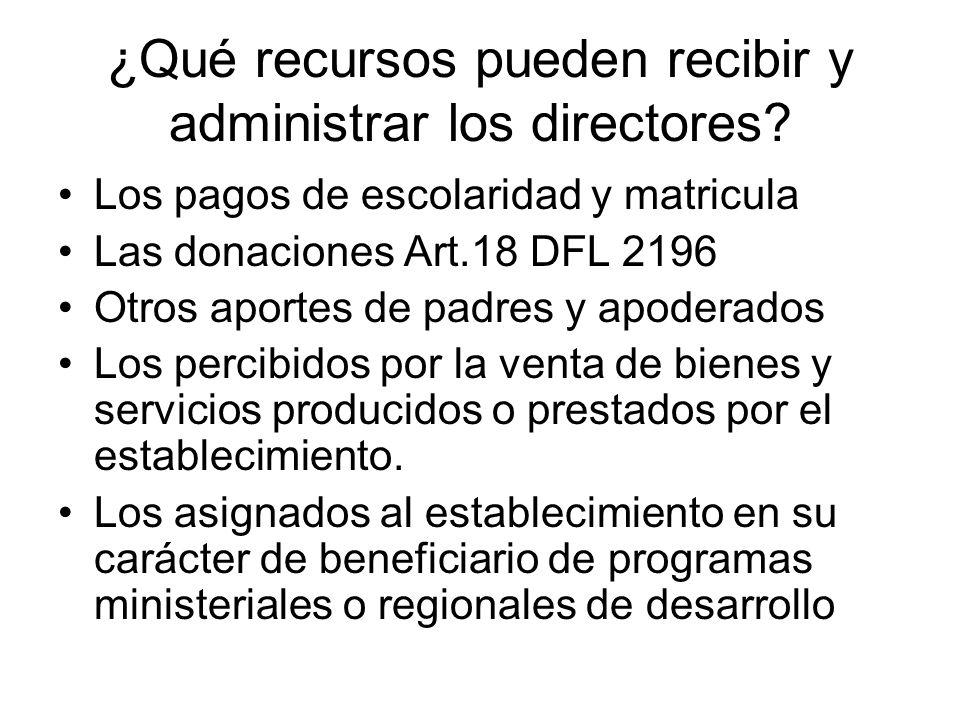 ¿Qué recursos pueden recibir y administrar los directores.