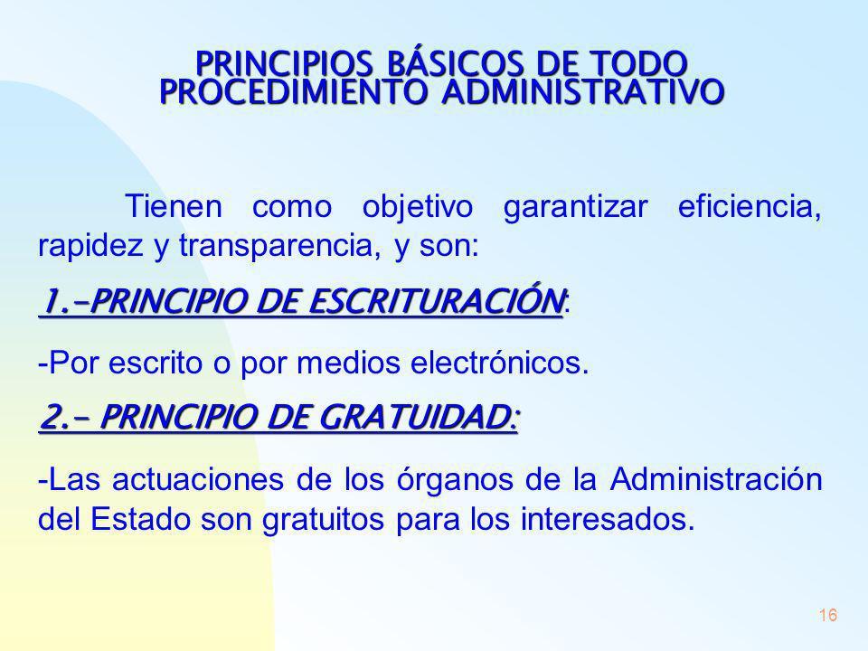 16 PRINCIPIOS BÁSICOS DE TODO PROCEDIMIENTO ADMINISTRATIVO Tienen como objetivo garantizar eficiencia, rapidez y transparencia, y son: 1.-PRINCIPIO DE