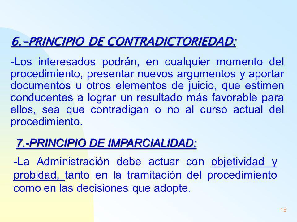 18 6.-PRINCIPIO DE CONTRADICTORIEDAD: -Los interesados podrán, en cualquier momento del procedimiento, presentar nuevos argumentos y aportar documento