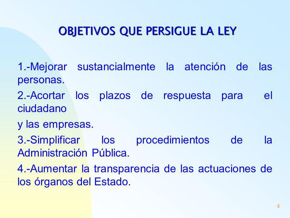 4 OBJETIVOS QUE PERSIGUE LA LEY 1.-Mejorar sustancialmente la atención de las personas. 2.-Acortar los plazos de respuesta para el ciudadano y las emp