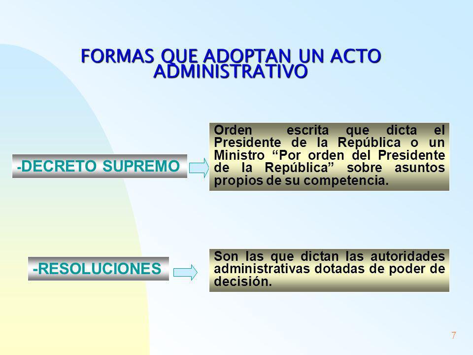 8 - -LOS DICTÁMENES O DECLARACIONES DE JUICIO Ej.: Certificado de antecedentes CONSTANCIAS O CONOCIMIENTOS Que realicen los órganos de la Administración LAS DECISIONES DE LOS ÓRGANOS ADMINISTRATIVOS COMPUESTOS POR VARIAS PERSONAS (Ej.: El Concejo Municipal) SE DENOMINAN ACUERDOS y se llevan a efecto por medio de resoluciones de la autoridad ejecutiva Alcalde