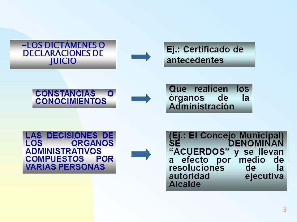 8 - -LOS DICTÁMENES O DECLARACIONES DE JUICIO Ej.: Certificado de antecedentes CONSTANCIAS O CONOCIMIENTOS Que realicen los órganos de la Administraci