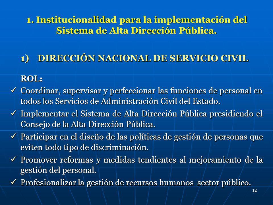 12 1. Institucionalidad para la implementación del Sistema de Alta Dirección Pública. 1)DIRECCIÓN NACIONAL DE SERVICIO CIVIL ROL: Coordinar, supervisa