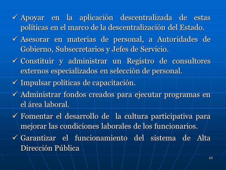 13 Apoyar en la aplicación descentralizada de estas políticas en el marco de la descentralización del Estado. Apoyar en la aplicación descentralizada