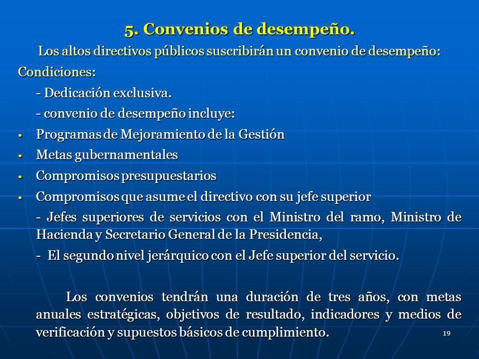 19 5. Convenios de desempeño. Los altos directivos públicos suscribirán un convenio de desempeño: Condiciones: - Dedicación exclusiva. - convenio de d