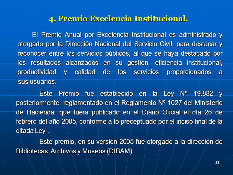 28 4. Premio Excelencia Institucional. El Premio Anual por Excelencia Institucional es administrado y otorgado por la Dirección Nacional del Servicio