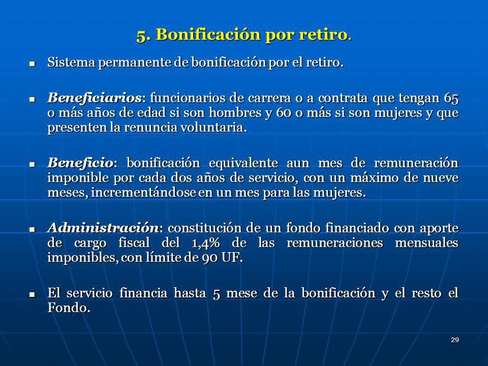 29 5. Bonificación por retiro. Sistema permanente de bonificación por el retiro. Sistema permanente de bonificación por el retiro. Beneficiarios: func
