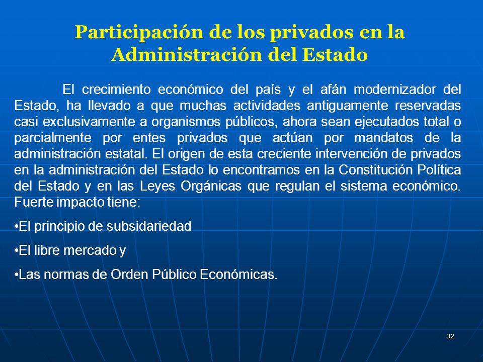 32 Participación de los privados en la Administración del Estado El crecimiento económico del país y el afán modernizador del Estado, ha llevado a que
