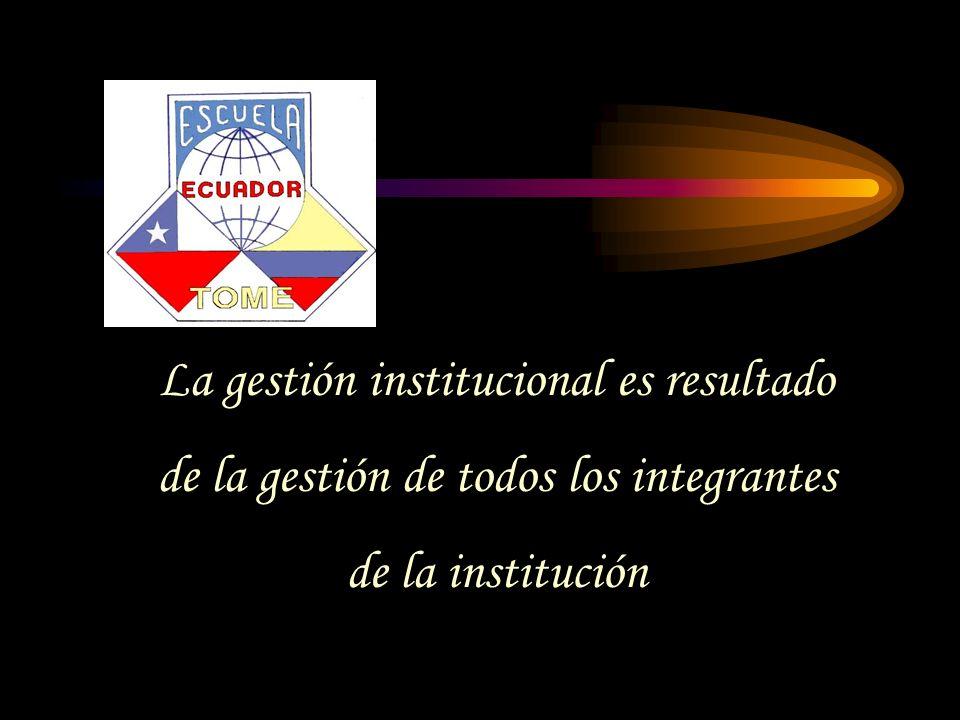 La gestión institucional es resultado de la gestión de todos los integrantes de la institución