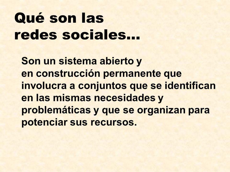 Qué son las redes sociales… Son un sistema abierto y en construcción permanente que involucra a conjuntos que se identifican en las mismas necesidades