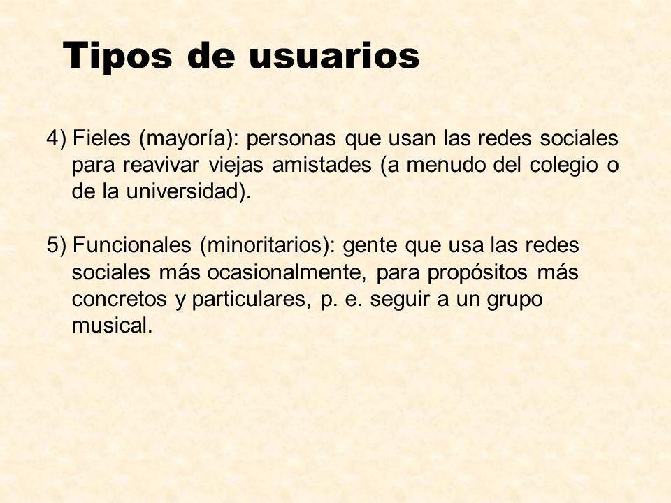 4) Fieles (mayoría): personas que usan las redes sociales para reavivar viejas amistades (a menudo del colegio o de la universidad). 5) Funcionales (m