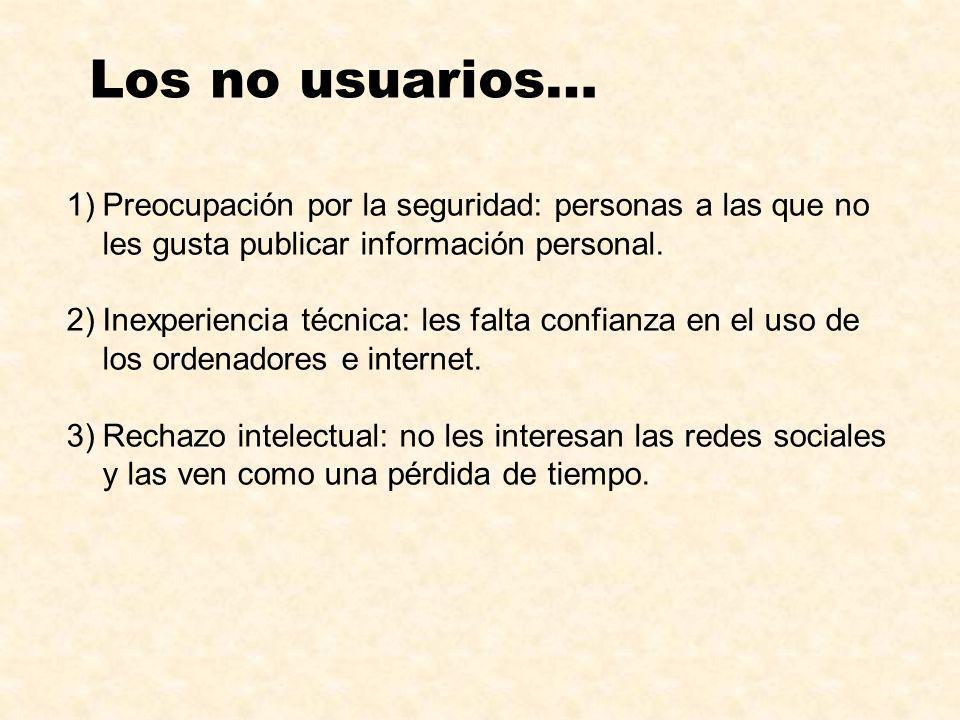 1)Preocupación por la seguridad: personas a las que no les gusta publicar información personal. 2)Inexperiencia técnica: les falta confianza en el uso