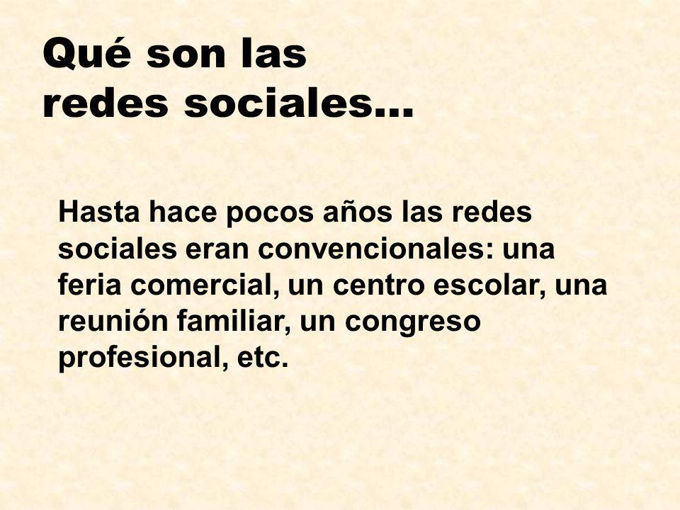 Qué son las redes sociales… Hasta hace pocos años las redes sociales eran convencionales: una feria comercial, un centro escolar, una reunión familiar