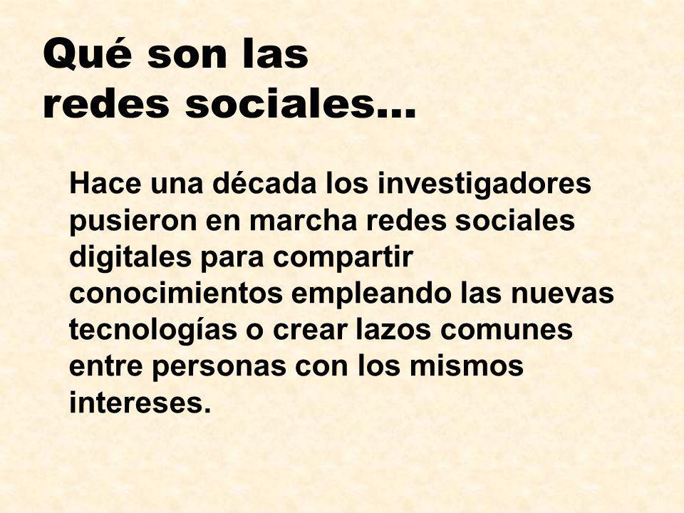 Qué son las redes sociales… Hace una década los investigadores pusieron en marcha redes sociales digitales para compartir conocimientos empleando las