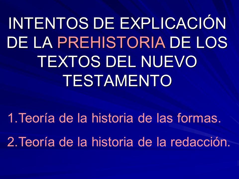 INTENTOS DE EXPLICACIÓN DE LA PREHISTORIA DE LOS TEXTOS DEL NUEVO TESTAMENTO 1.Teoría de la historia de las formas. 2.Teoría de la historia de la reda