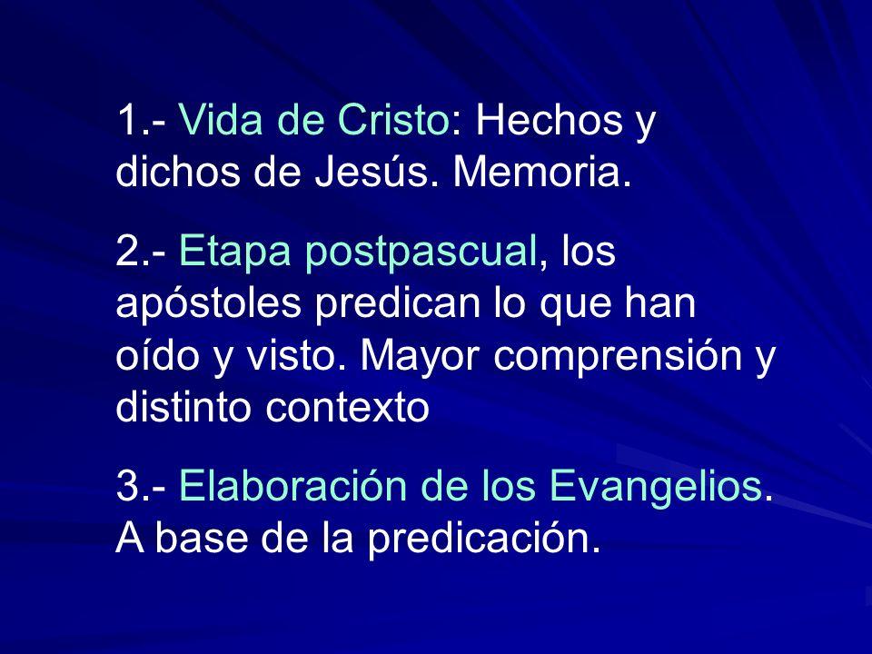 1.- Vida de Cristo: Hechos y dichos de Jesús. Memoria. 2.- Etapa postpascual, los apóstoles predican lo que han oído y visto. Mayor comprensión y dist
