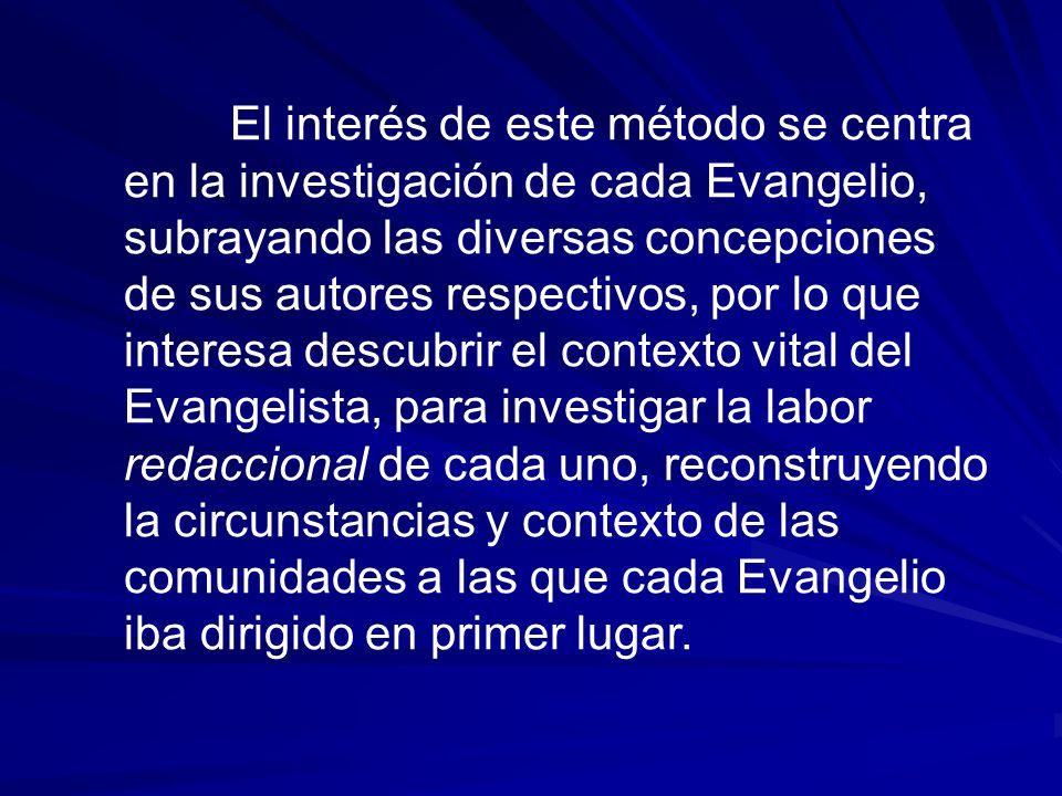 El interés de este método se centra en la investigación de cada Evangelio, subrayando las diversas concepciones de sus autores respectivos, por lo que