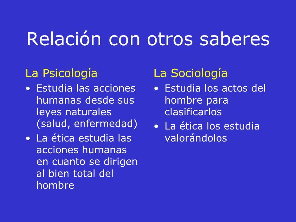 Relación con otros saberes La antropología Estudia como es el hombre La ética estudia cuál es el bien fin del mismo hombre La Metafísica Estudia al ho
