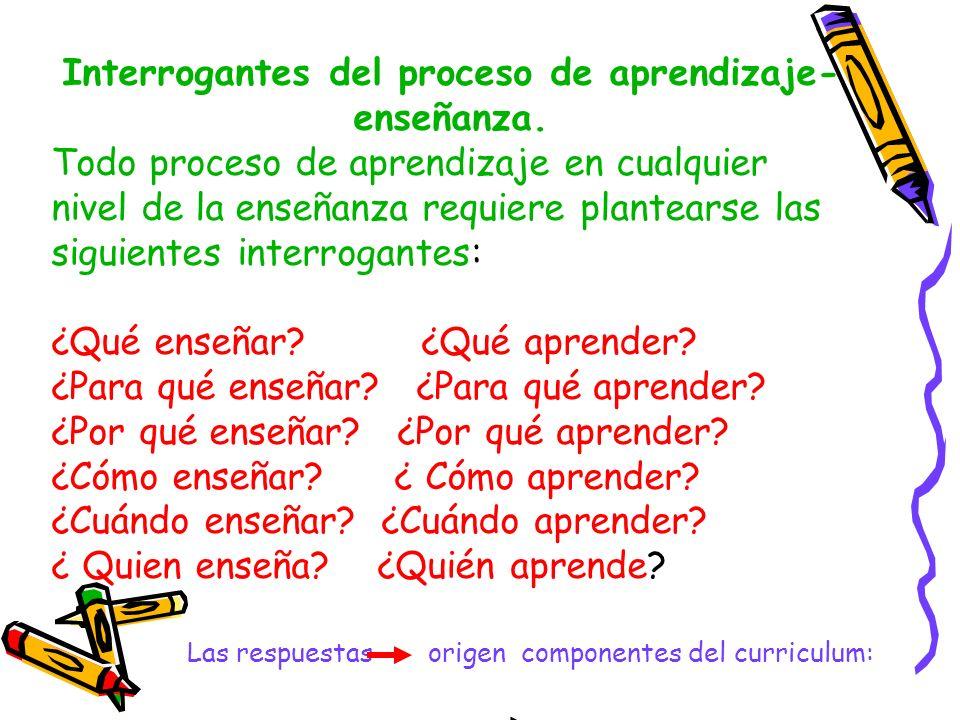 Interrogantes del proceso de aprendizaje- enseñanza. Todo proceso de aprendizaje en cualquier nivel de la enseñanza requiere plantearse las siguientes