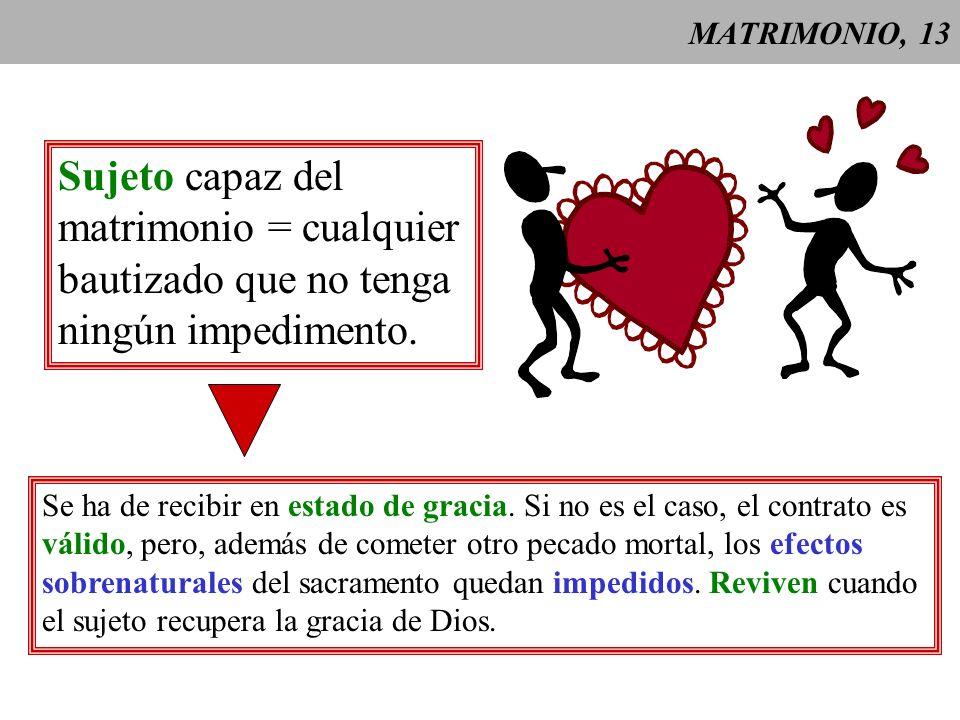 MATRIMONIO,14 Efectos sobrenaturales del matrimonio = aumento de la gracia santificante y gracia sacramental.