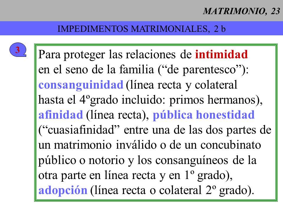 MATRIMONIO, 24 IMPEDIMENTOS MATRIMONIALES, 2 c 4 Para proteger la fe del cónyuge católico y la educación católica de los hijos: con una persona no bautizada (pero caso de un bauti- zado fuera de la Iglesia católica: no invalida, pero necesidad de un permiso).