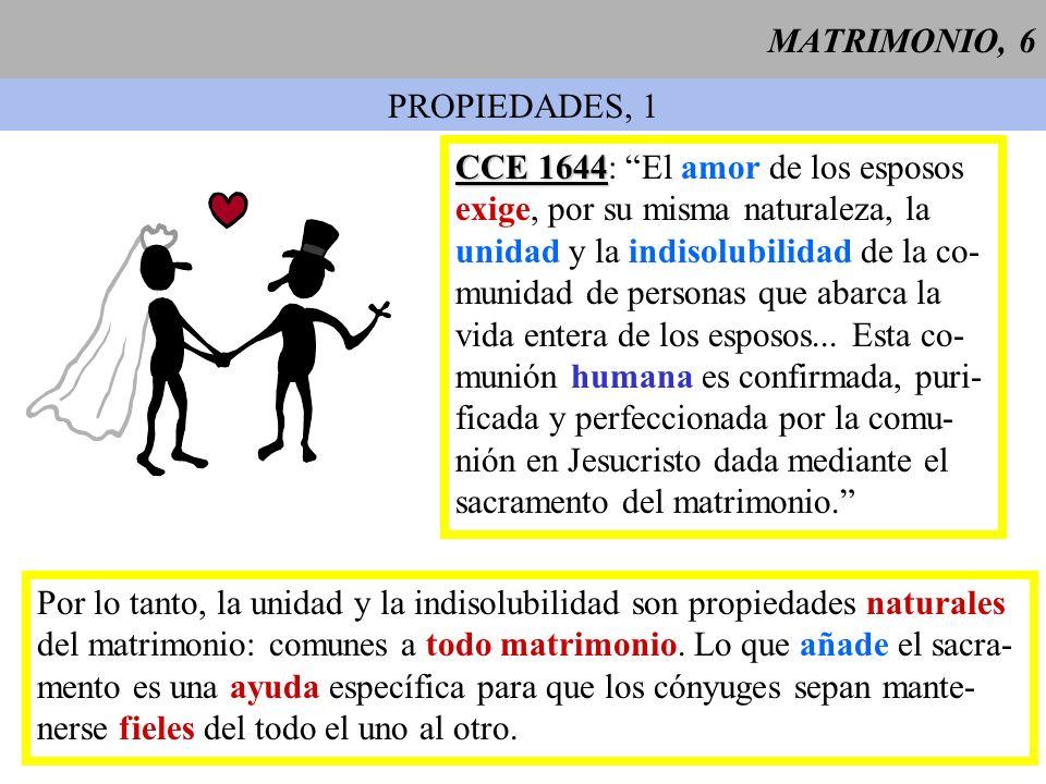 MATRIMONIO, 7 PROPIEDADES, 2 UNIDAD El vínculo matrimonial es exclusivo: la poligamia simultánea es ilícita por derecho divino natural y por derecho divino positivo.
