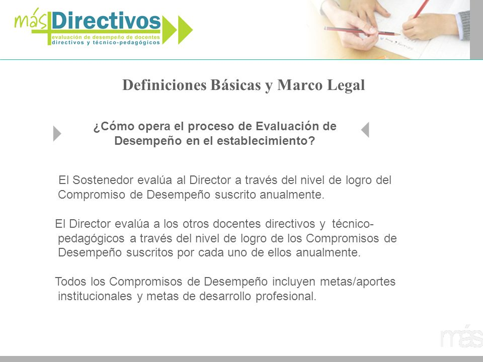 Definiciones Básicas y Marco Legal El Sostenedor evalúa al Director a través del nivel de logro del Compromiso de Desempeño suscrito anualmente. El Di