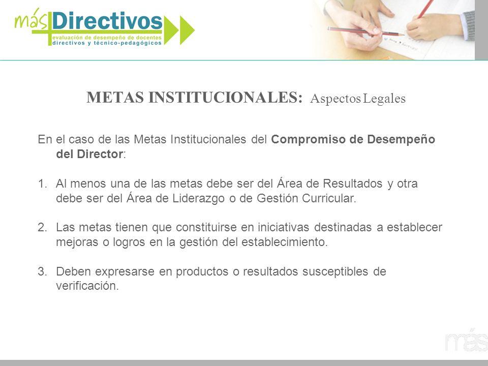 METAS INSTITUCIONALES: Aspectos Legales En el caso de las Metas Institucionales del Compromiso de Desempeño del Director: 1.Al menos una de las metas