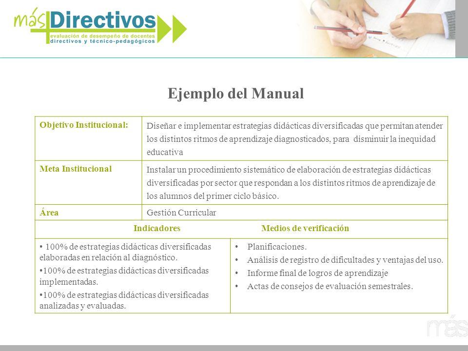 Ejemplo del Manual Objetivo Institucional: Diseñar e implementar estrategias didácticas diversificadas que permitan atender los distintos ritmos de ap