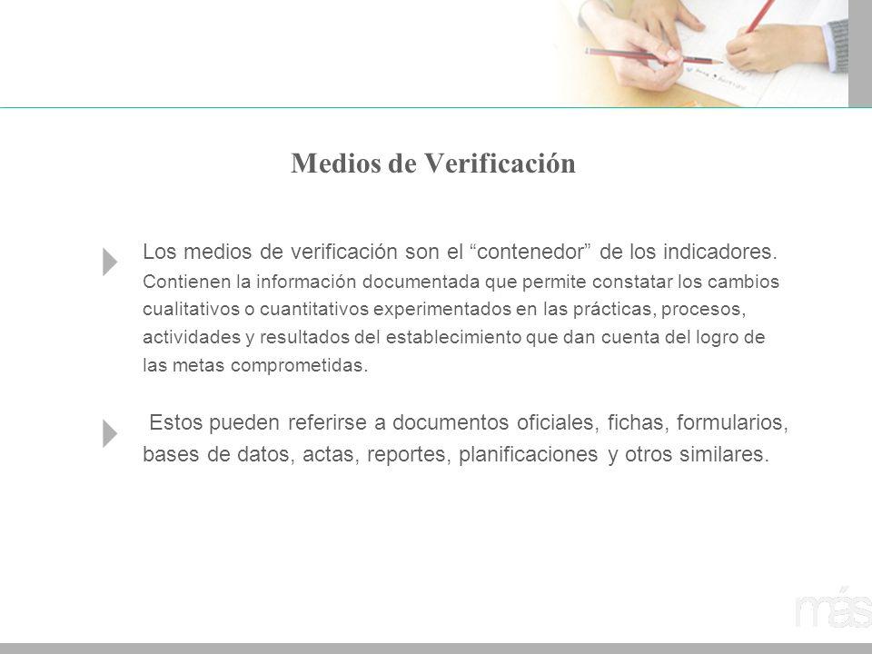Medios de Verificación Los medios de verificación son el contenedor de los indicadores. Contienen la información documentada que permite constatar los
