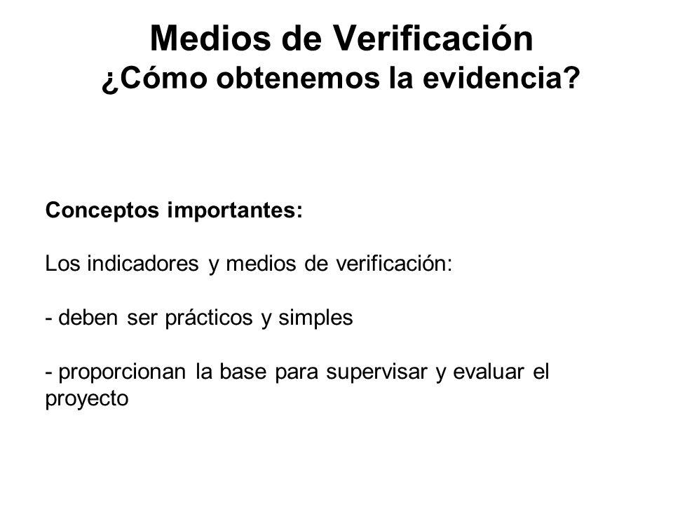 Medios de Verificación ¿Cómo obtenemos la evidencia? Conceptos importantes: Los indicadores y medios de verificación: - deben ser prácticos y simples