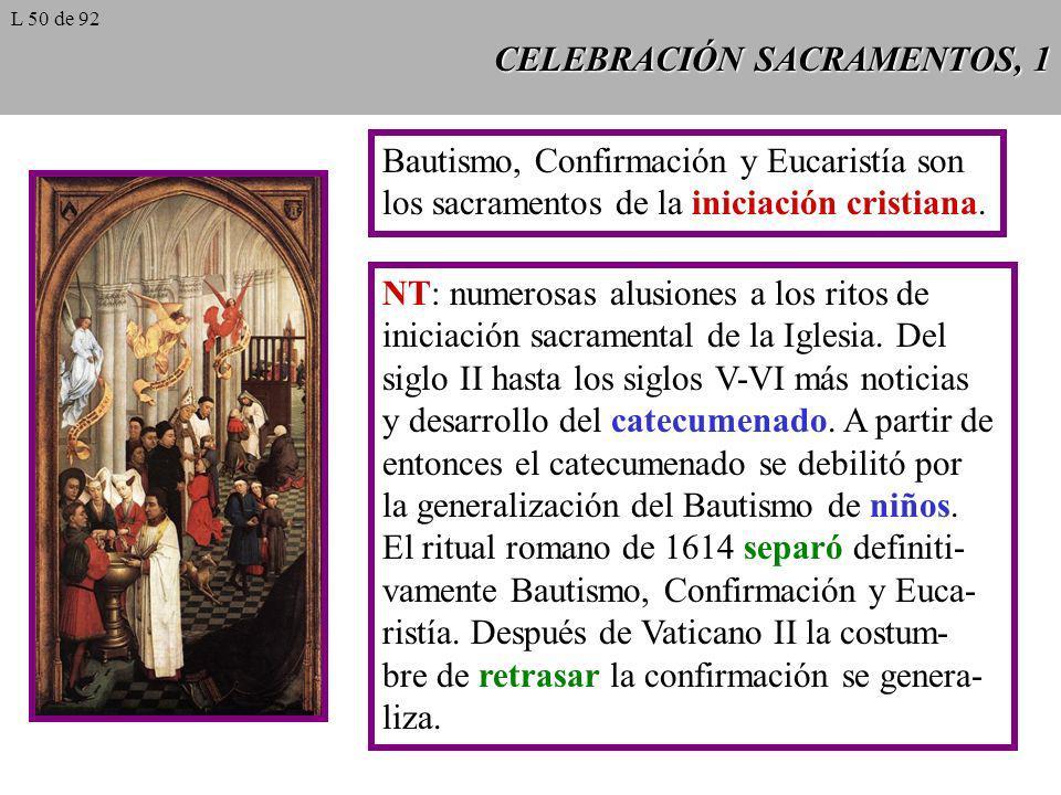 CELEBRACIÓN SACRAMENTOS, 1 Bautismo, Confirmación y Eucaristía son los sacramentos de la iniciación cristiana. NT: numerosas alusiones a los ritos de