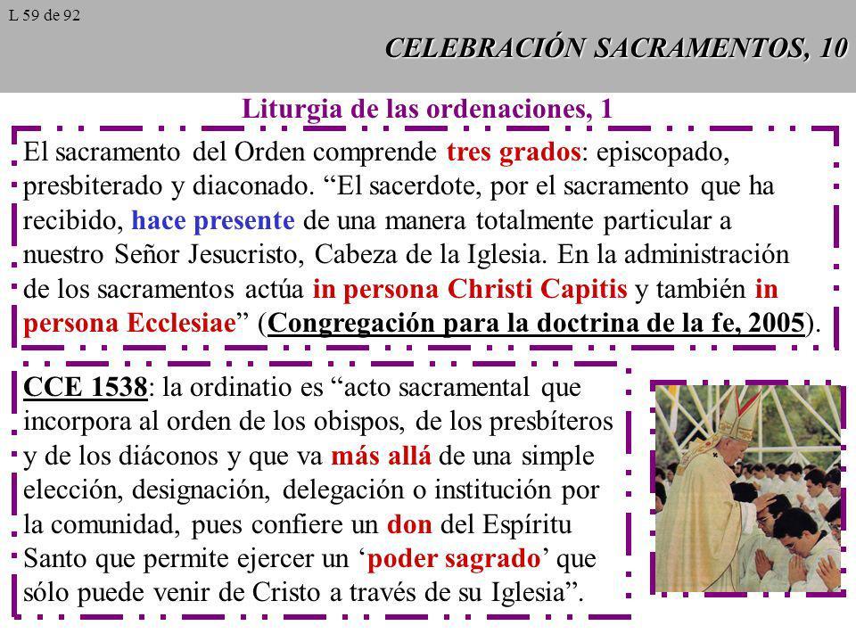 CELEBRACIÓN SACRAMENTOS, 10 Liturgia de las ordenaciones, 1 El sacramento del Orden comprende tres grados: episcopado, presbiterado y diaconado. El sa