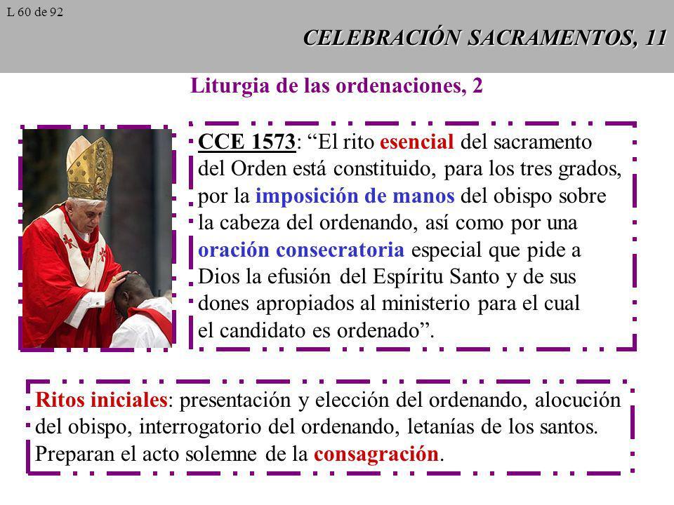 CELEBRACIÓN SACRAMENTOS, 11 Liturgia de las ordenaciones, 2 CCE 1573: El rito esencial del sacramento del Orden está constituido, para los tres grados