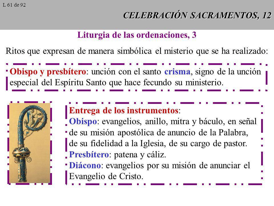 CELEBRACIÓN SACRAMENTOS, 12 Liturgia de las ordenaciones, 3 Ritos que expresan de manera simbólica el misterio que se ha realizado: Obispo y presbíter