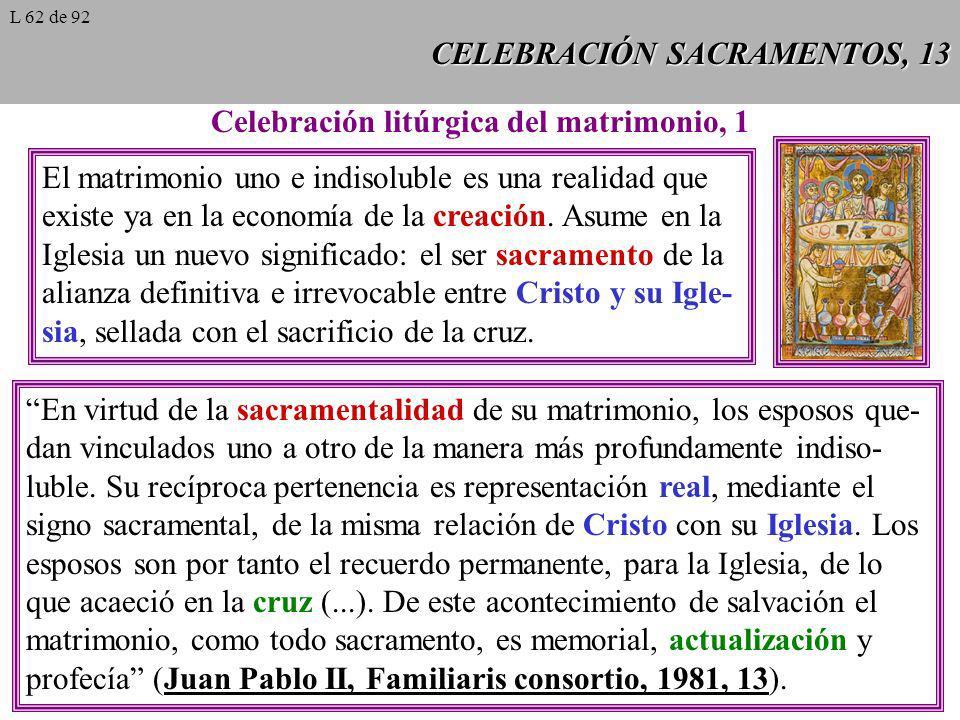 CELEBRACIÓN SACRAMENTOS, 13 Celebración litúrgica del matrimonio, 1 El matrimonio uno e indisoluble es una realidad que existe ya en la economía de la