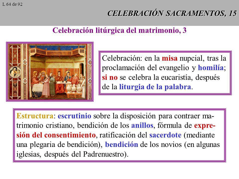 CELEBRACIÓN SACRAMENTOS, 15 Celebración litúrgica del matrimonio, 3 Celebración: en la misa nupcial, tras la proclamación del evangelio y homilía; si