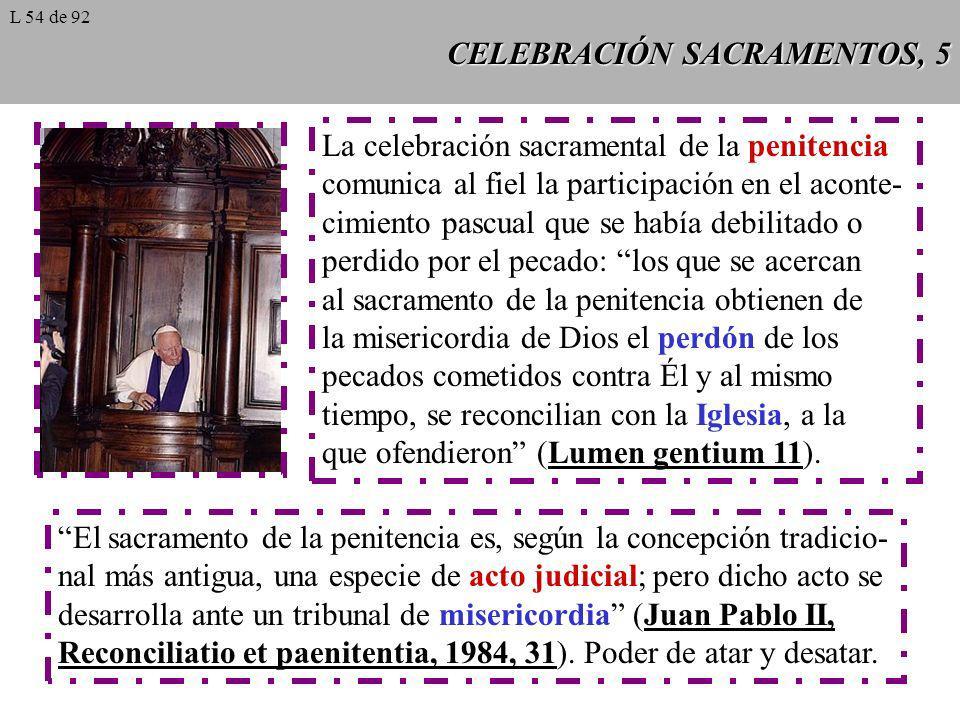 CELEBRACIÓN SACRAMENTOS, 5 La celebración sacramental de la penitencia comunica al fiel la participación en el aconte- cimiento pascual que se había d