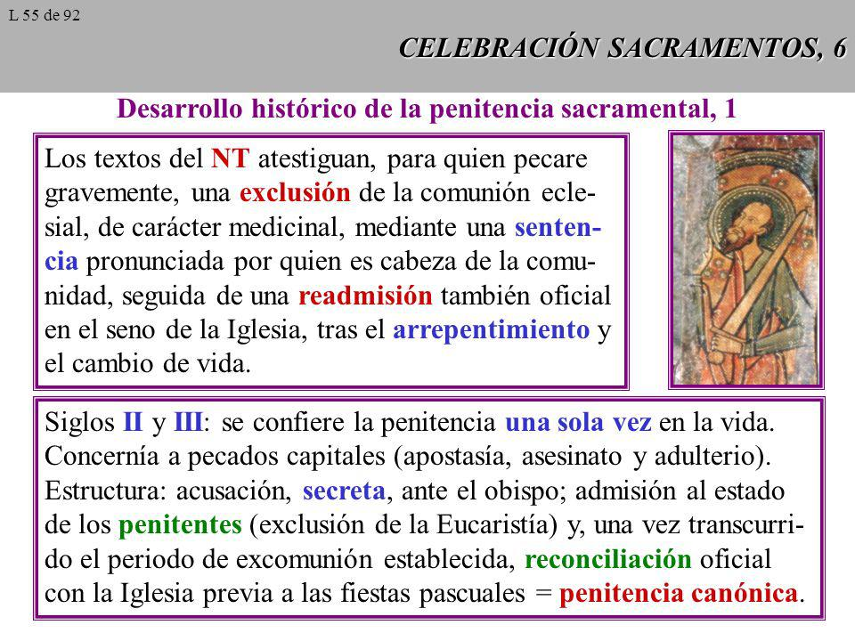 CELEBRACIÓN SACRAMENTOS, 6 Desarrollo histórico de la penitencia sacramental, 1 Los textos del NT atestiguan, para quien pecare gravemente, una exclus