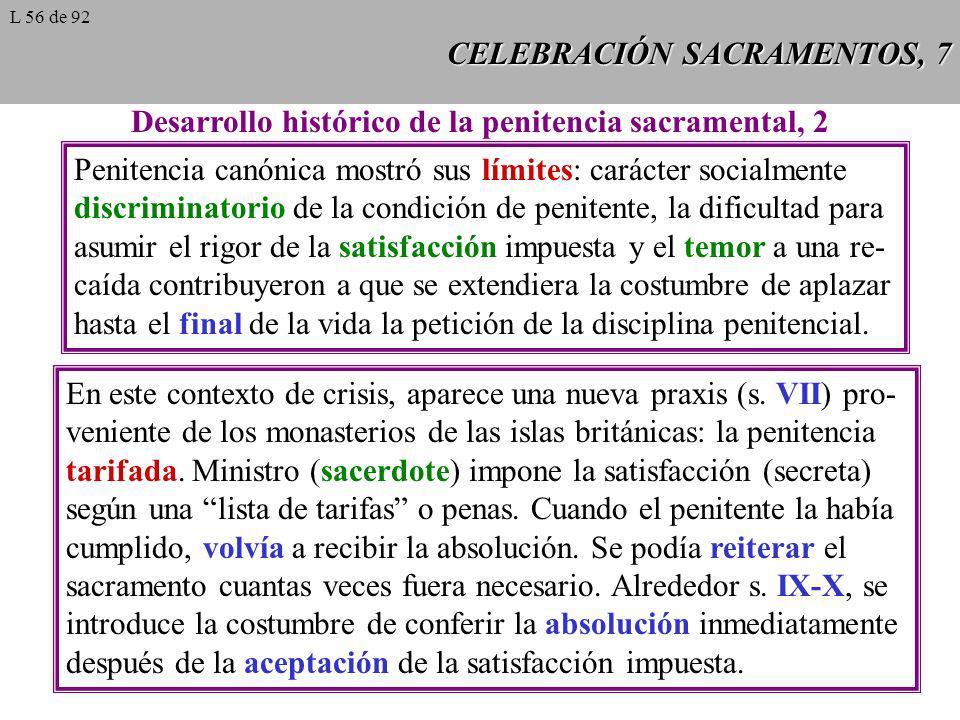 CELEBRACIÓN SACRAMENTOS, 8 Desarrollo histórico de la penitencia sacramental, 3 Siglo XVIII: aparece el confesona- rio como lugar más apropiado para la celebración del sacramento, en sustitución de la sede presidencial del ministro.