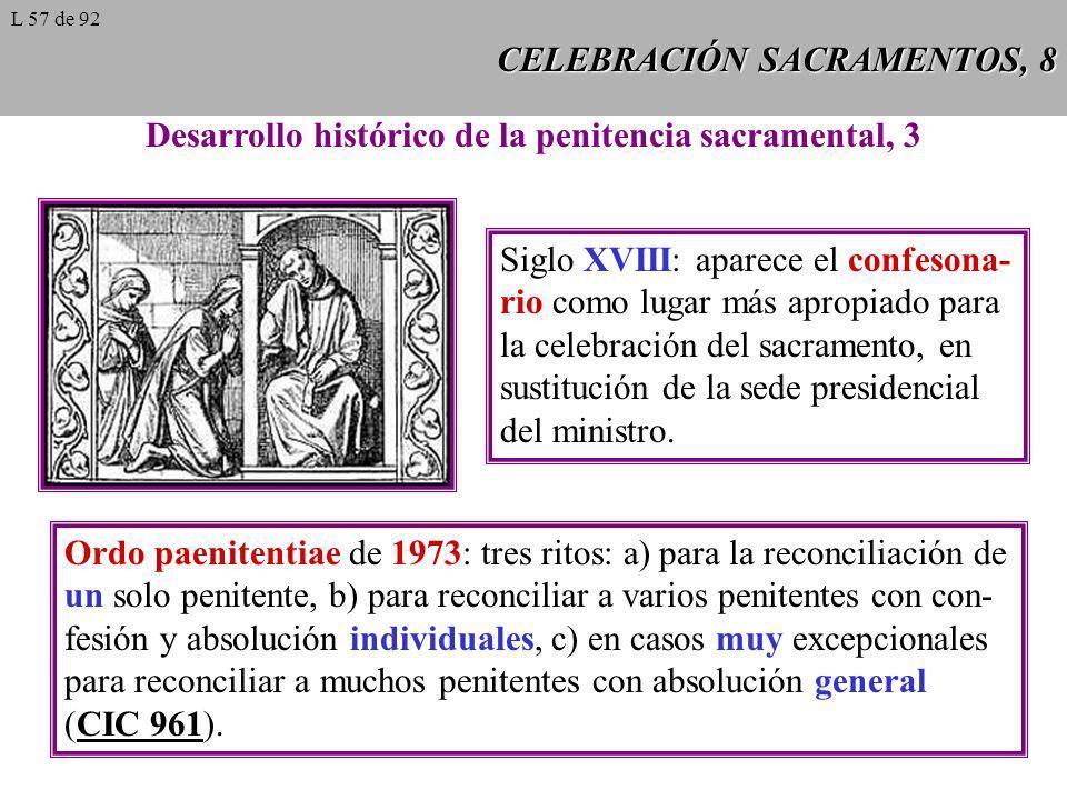 CELEBRACIÓN SACRAMENTOS, 8 Desarrollo histórico de la penitencia sacramental, 3 Siglo XVIII: aparece el confesona- rio como lugar más apropiado para l