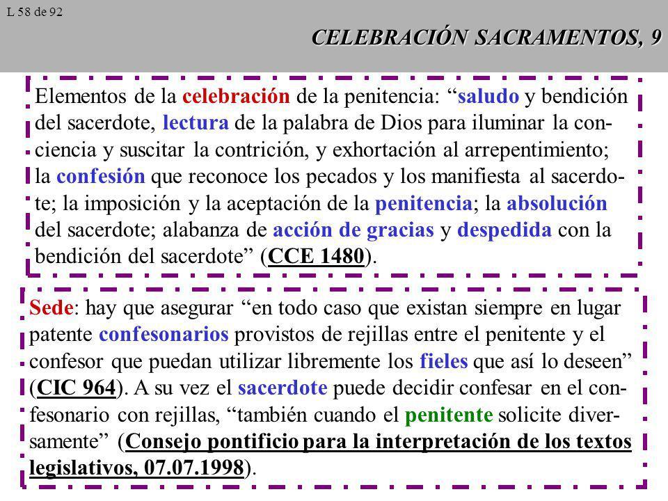 CELEBRACIÓN SACRAMENTOS, 9 Elementos de la celebración de la penitencia: saludo y bendición del sacerdote, lectura de la palabra de Dios para iluminar