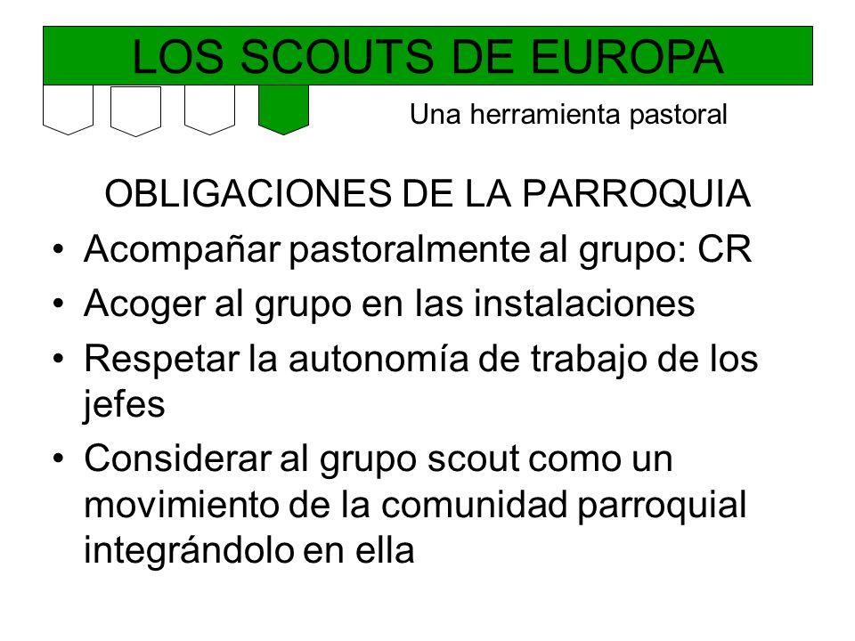 LOS SCOUTS DE EUROPA OBLIGACIONES DE LA PARROQUIA Acompañar pastoralmente al grupo: CR Acoger al grupo en las instalaciones Respetar la autonomía de t